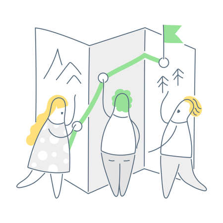 Travel planning, paving the route. Three cartoon characters draw navigation journey route on the map, travel and adventure concept. Clean line illustration on white background.
