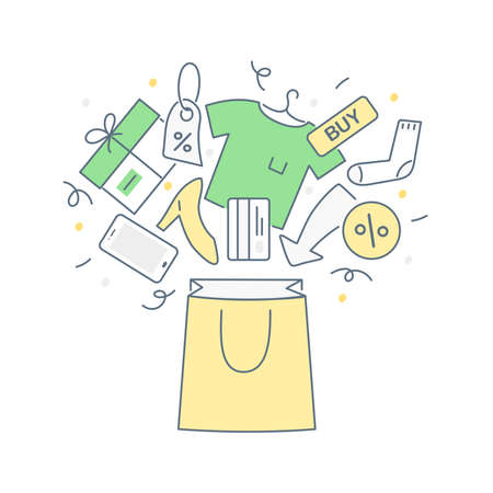 Sale, special offer, discount, shopping process and fast delivery. Put goods in the shopping basket, paper bag. Flat thin line illustration