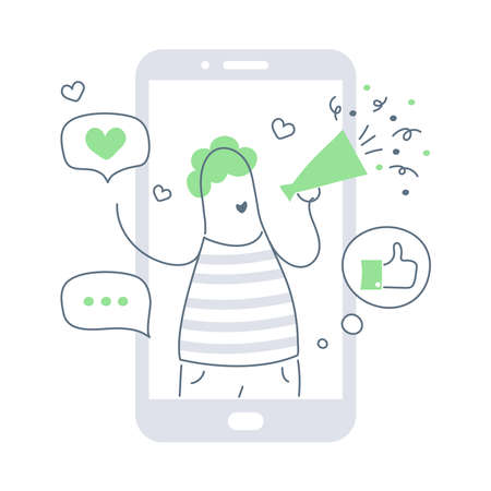 Influencer marketing concept - blogger promotion services and goods for his followers online via smartphone. Cartoon microblogger with megaphone advertise his social media.