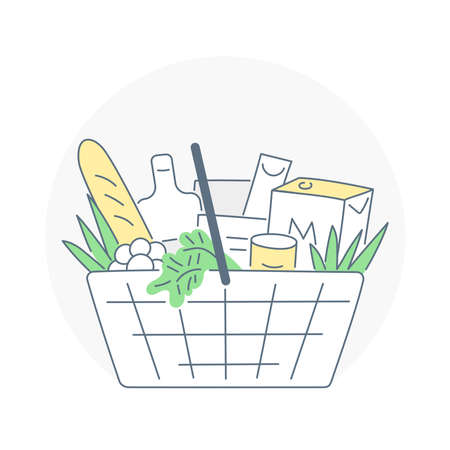 Food bucket, order food or grocery online. Fast delivery, organic eco products. Flat thin line  illustration on white.