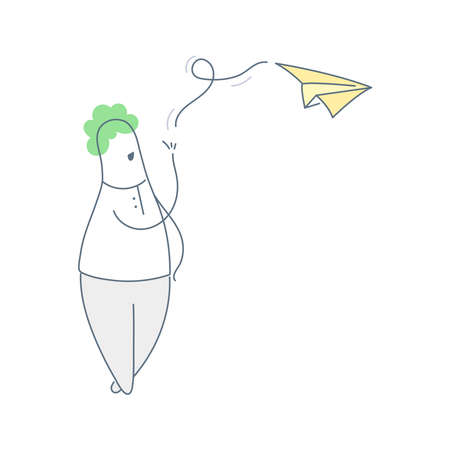 Cute cartoon man sending paper plane. Sharing of information, news, newsletter, advertising or just dreaming. Thin line icon illustration on white. Vettoriali