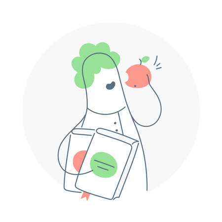 Education concept, university, college or school student with books eating apple of knowledge. Back to school, workshop, seminar. Flat thin line isolated illustration on white background. Illustration