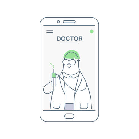 Syringe, doctor with medical injection in hand. Medicine plastic vaccination equipment with needle, syringe for treatment. Health care in hospital concept. Flat line vector on white background. Vector Illustration