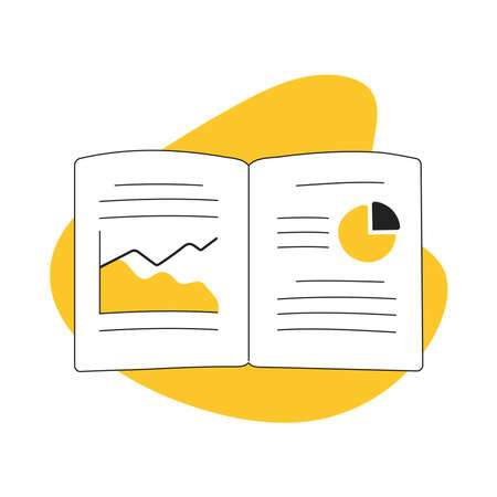 Big Data analysis, research, banking statistics, business data in the magazine or notebook, graph and chart, data study, analyzing financial figures on a graphs. Flat line vector illustration on white