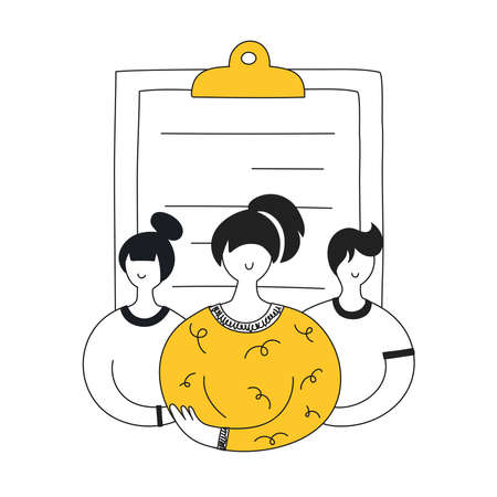 Job candidates, hiring and recruitment process. CV assessment, interviewing, selection, recruiting concept. Black and yellow people are in front of clipboard. Flat line vector illustration on white.