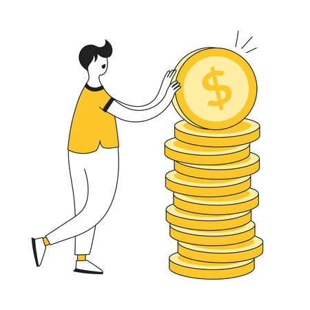Fees and funding, banking, business investment and money savings illustration concept. Cartoon man puts the golden coins in a pile. Flat line black yellow vector on white.  イラスト・ベクター素材