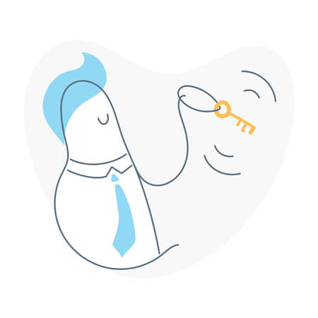 Happy man with a key in his hand. Access to features, solution, login, personality, unique user access and the ability to open or discover something. Flat outline vector illustration on white.