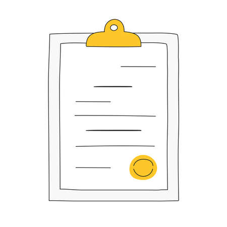 Clipboard with document and the seal. Contract paper, agreement, business plan, report or certificate concept. Flat line vector icon illustration on white.