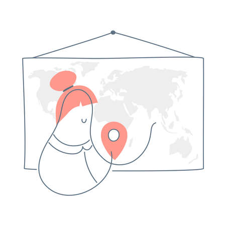 The woman standing near the map and pinning the point. Geography training, compilation of logistics routes, travel destinations. Flat line vector illustration on white background.