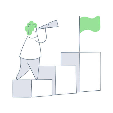 Career Advice, Growth Opportunities concept. Cute cartoon man standing in front of the growth chart and flag-waving on the highest column of the chart. Flat outline vector illustration on white