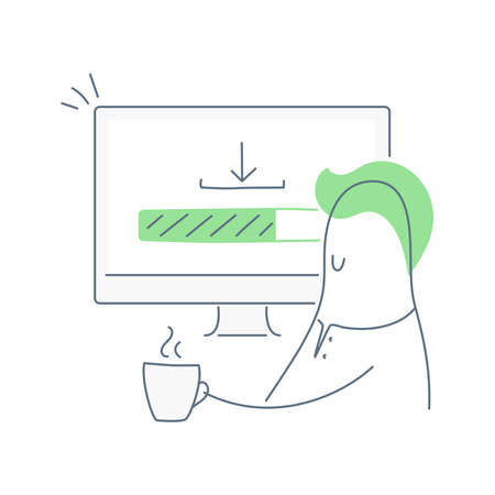 Loading process, downloading bar. Cute cartoon man is sitting near his computer, drinking the coffee and waiting for a file, app, software or data package. Flat thin line vector on white background.