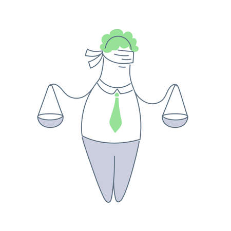 Lawyer or attorney with weights or justice scales in hands. Civil rights, legal, judge or jury line vector icon concept on white.