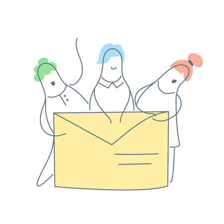 Email envelope and three characters - team members behind it. Web page template of company connect, teamwork, corporate business workflow, career opportunities, team skills, management. Outline vector