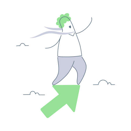 Forward to Success, Upwards, Personal Growth. Cute cartoon businessman character flying up standing on the arrow. Clean line minimal vector illustration on white background.  イラスト・ベクター素材