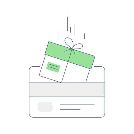 Loyalty card program. Receive bonus points, incentive gift, cash back, earn reward, redeem gift, win present. Flat linear vector illustration.