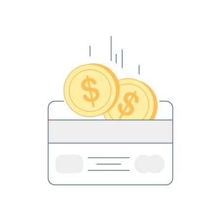 Loyalty program concept. Earn, receive cash back on the bonus or debit card, earn reward, redeem gift, perks or compensation. Flat line vector illustration on white. Stock Illustratie