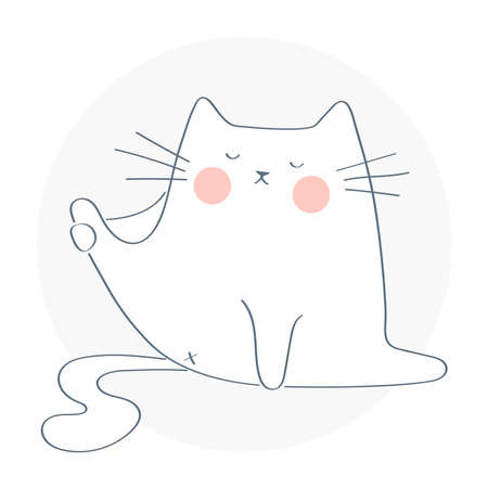 Funny cute cat trying to licking its butt. Leisure time. Hand drawn isolated vector illustration on white background.