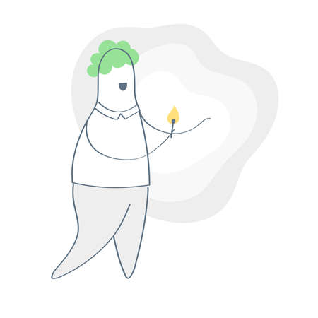 Cartoon man carrying light in the dark, he is holding a burning candle with his hand. Flat thin line vector illustration on white.