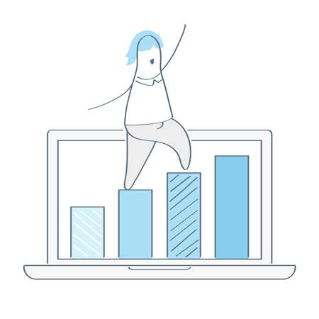 Businessman going up a chart, jumping over graph stat to goal. Growth vector diagram, success business, achieving results, career growth. Flat line financial vector illustration on white, Ilustrace