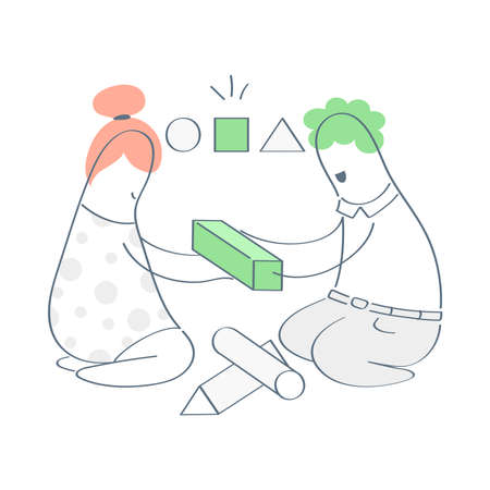 Solution, finding the right answer concept. Two cartoon characters solving a puzzle, holding a cube to put it the right hole. Brainteaser, logic game, solving a logical problem. Flat outline ui vector
