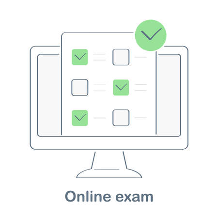 Online exam, survey, checklist or voting on computer display. Feedback business concept. Flat line vector illustration. Stock Illustratie