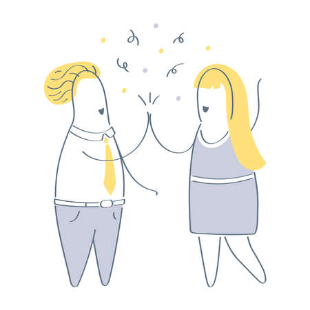Two business people giving high five to each other, greeting, success, good job, agreement, teamwork, partnership, successfully performed task, friendship concept. Flat outline vector illustration