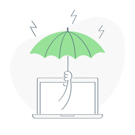 Protection, Save data or computer information concept, hand holds an umbrella over a laptop protecting it from the threat of rain. Flat thin line ui vector illustration on white.