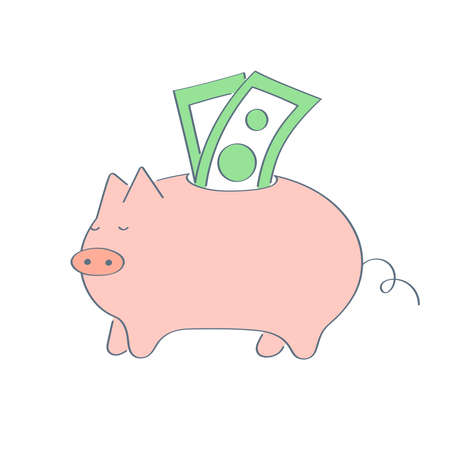 Piggy bank with US dollar bills. The concept of saving money, economy, open a bank deposit or investments in the future. Flat outline cartoon vector illustration on white.  イラスト・ベクター素材