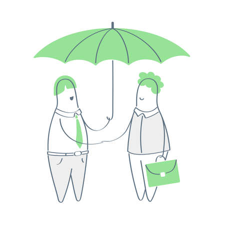 Safety, secure, insurance or safety vector illustration, two people are standing under the umbrella and making a deal shaking hands. Health life insurance, make a save, security of the agreement.