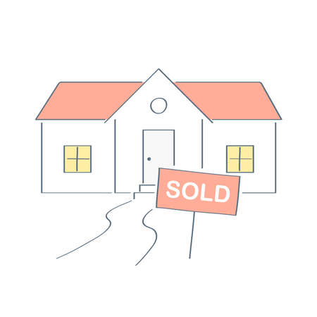 The house is sold - real estate sign in front of new home. Sale sign in flat outline isolated vector format on white background. Used by a real-estate agent to advertise a house listing.