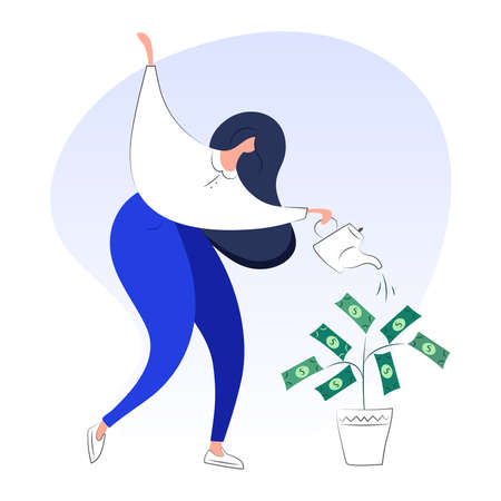 Modern style woman business investor with a can watering money tree. Financial growth concept, investment, increase revenue, business growth. Flat vector illustration.