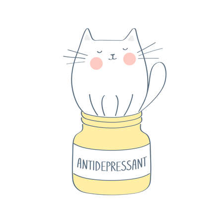 Antidepressant, cute linear funny cat sitting in a medical bottle. Medicine for the mind, to calm, the solution to all problems. Colorful vector illustration in premium outline cartoon design style.
