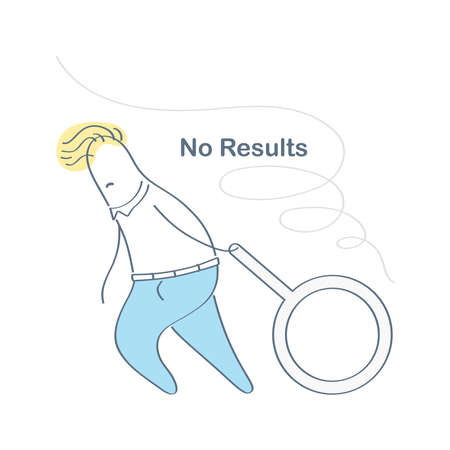 No search results, 404, page not found concept. Upset cartoon character with search magnifying glass. Flat outline vector illustration, premium quality illustration design for website. Vektorgrafik