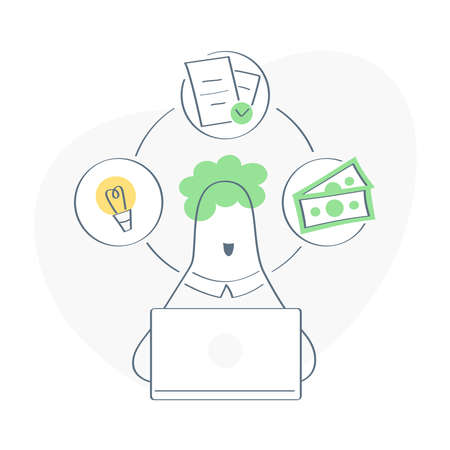 Remote online freelance work concept, brief job, project idea implementation, reward. Process steps revolve around the character's head. Flat modern outline vector illustration on white. 스톡 콘텐츠 - 151037106