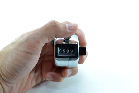 tally: Hand Using Tally Counter Stock Photo