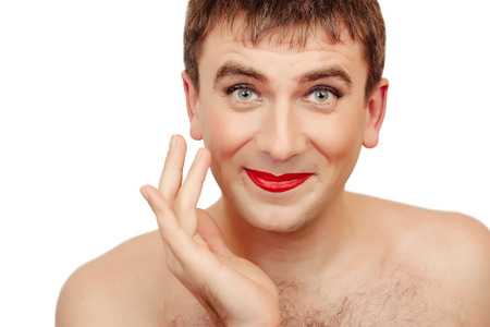 Funny man with make-up, comical photo