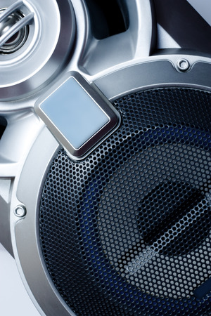 hardrock: Close-up of musical speaker in blue Stock Photo