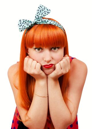 pout: Beautiful young woman with pin-up make-up pout her lips Stock Photo