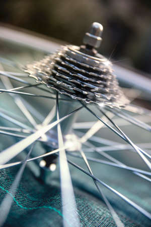 spokes: Close-up of a brand new and shiny bicycle wheel with gears
