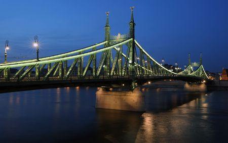 The renewed Liberty bridge  by night in Budapest photo
