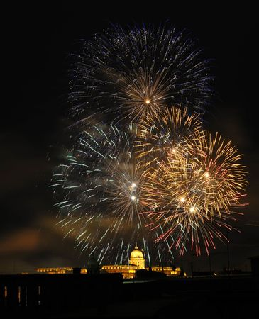 Firework over the Royal Palace in Budapest photo