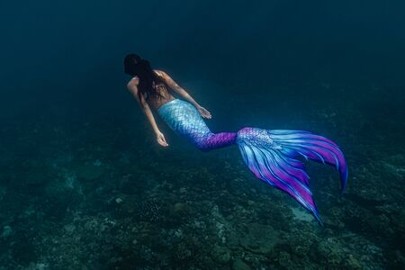 Young female free diver swims underwater in a colorful and mermaid costume.