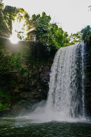The majestic view of Hikong Alu waterfalls in Lake Sebu, South Cotabato, Philippines. Banque d'images
