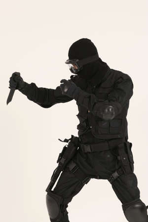 poised: Swat Soldier with a knife