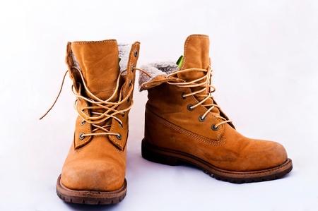 Female working orange boots photo