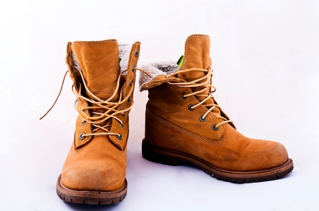 Female working orange boots
