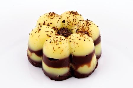 blancmange: Creamy and tasty puding vanilla and chocolate Stock Photo
