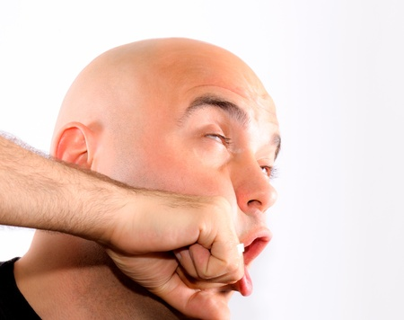 Bald guy recive a punch Stock Photo - 13737591