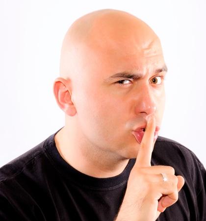 bald men: Shhh silence please Stock Photo