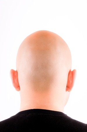 Shaved head isolated on white photo